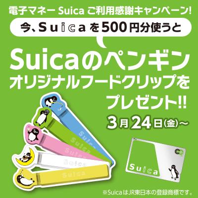 Suicaで500円分お支払いで「Suicaのペンギンオリジナルフードクリップ」をプレゼント!