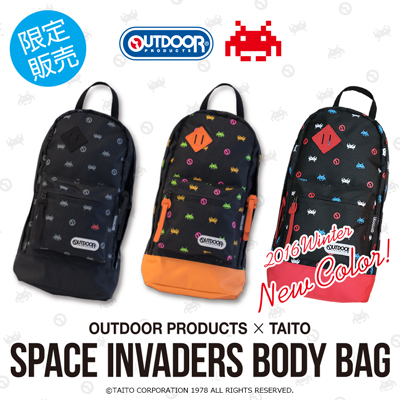 OUTDOOR PRODUCTS × TAITO スペースインベーダー ボディバッグ 2016 Winter New Color 登場!