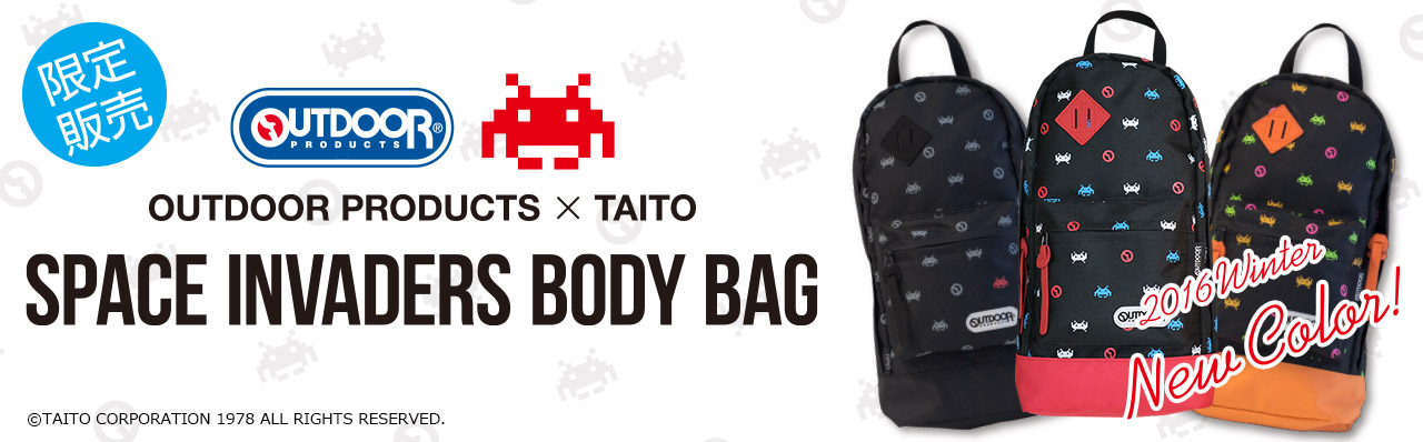 OUTDOOR PRODUCTS × TAITO スペースインベーダー ボディバッグ